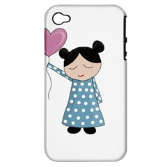 Valentines Day Girl Apple Iphone 4/4s Hardshell Case (pc+silicone) by Valentinaart