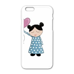 Valentines Day Girl Apple Iphone 6/6s White Enamel Case by Valentinaart