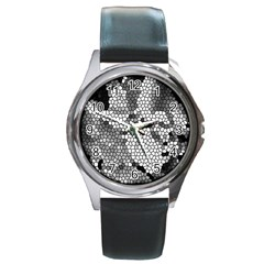 Mosaic Stones Glass Pattern Round Metal Watch