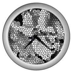 Mosaic Stones Glass Pattern Wall Clocks (silver)