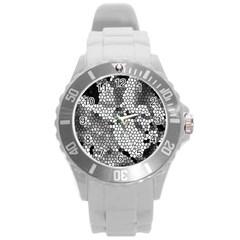 Mosaic Stones Glass Pattern Round Plastic Sport Watch (l)