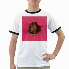 Snail Pink Background Ringer T Shirts