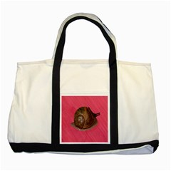 Snail Pink Background Two Tone Tote Bag by Nexatart