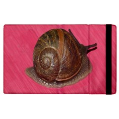 Snail Pink Background Apple Ipad 2 Flip Case
