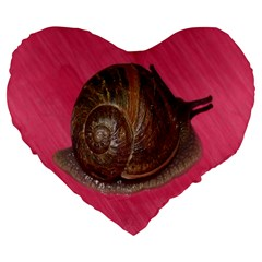 Snail Pink Background Large 19  Premium Flano Heart Shape Cushions by Nexatart