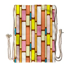 Retro Blocks Drawstring Bag (large) by Nexatart