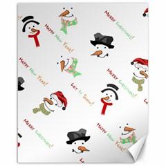 Snowman Christmas Pattern Canvas 16  X 20