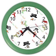 Snowman Christmas Pattern Color Wall Clocks