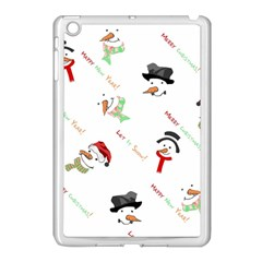 Snowman Christmas Pattern Apple Ipad Mini Case (white) by Nexatart