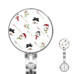 Snowman Christmas Pattern Stainless Steel Nurses Watch
