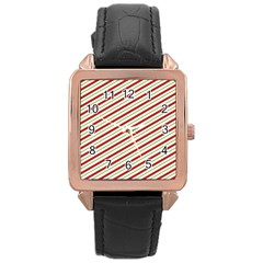 Stripes Rose Gold Leather Watch