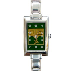 One Stroke Owl Rectangle Italian Charm Watch