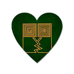 One Stroke Owl Heart Magnet