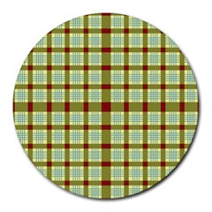 Geometric Tartan Pattern Square Round Mousepads by Nexatart