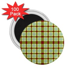 Geometric Tartan Pattern Square 2 25  Magnets (100 Pack)