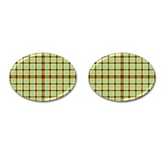 Geometric Tartan Pattern Square Cufflinks (oval) by Nexatart