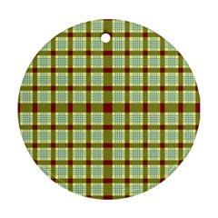 Geometric Tartan Pattern Square Round Ornament (two Sides)