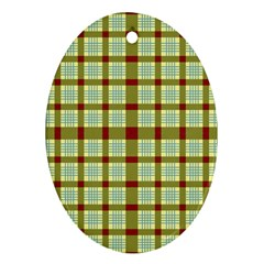 Geometric Tartan Pattern Square Oval Ornament (two Sides) by Nexatart