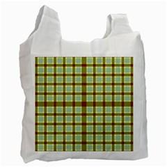 Geometric Tartan Pattern Square Recycle Bag (one Side) by Nexatart