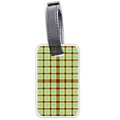 Geometric Tartan Pattern Square Luggage Tags (one Side)  by Nexatart