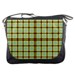 Geometric Tartan Pattern Square Messenger Bags
