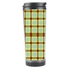 Geometric Tartan Pattern Square Travel Tumbler