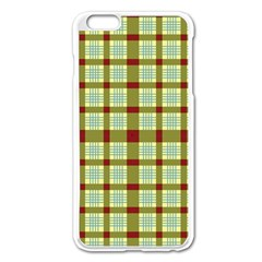 Geometric Tartan Pattern Square Apple Iphone 6 Plus/6s Plus Enamel White Case