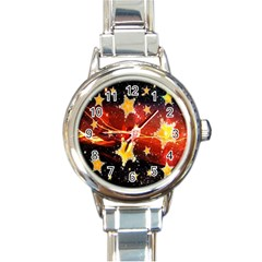 Holiday Space Round Italian Charm Watch