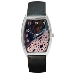 Industry Fractals Geometry Graphic Barrel Style Metal Watch by Nexatart