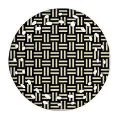 Woven1 Black Marble & Beige Linen Round Filigree Ornament (two Sides) by trendistuff