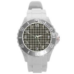 Woven1 Black Marble & Beige Linen Round Plastic Sport Watch (l) by trendistuff