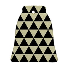 Triangle3 Black Marble & Beige Linen Bell Ornament (two Sides) by trendistuff