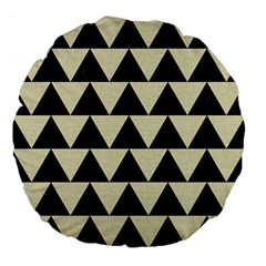 Triangle2 Black Marble & Beige Linen Large 18  Premium Flano Round Cushion  by trendistuff