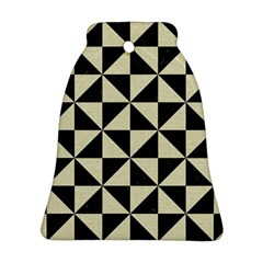 Triangle1 Black Marble & Beige Linen Bell Ornament (two Sides) by trendistuff