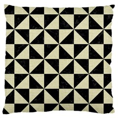 Triangle1 Black Marble & Beige Linen Large Cushion Case (two Sides) by trendistuff
