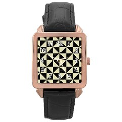 Triangle1 Black Marble & Beige Linen Rose Gold Leather Watch  by trendistuff