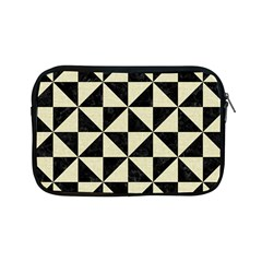Triangle1 Black Marble & Beige Linen Apple Ipad Mini Zipper Case by trendistuff