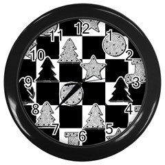 Xmas Checker Wall Clocks (black) by Nexatart