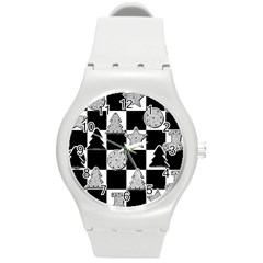 Xmas Checker Round Plastic Sport Watch (m)