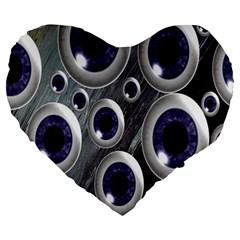 Eyeballs Pattern Large 19  Premium Heart Shape Cushions