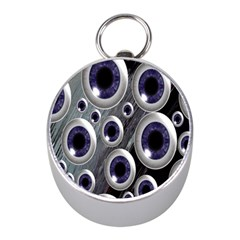 Eyeballs Pattern Mini Silver Compasses