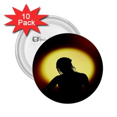 Silhouette Woman Meditation 2 25  Buttons (10 Pack)  by Nexatart