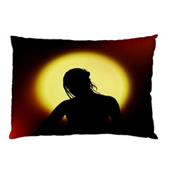 Silhouette Woman Meditation Pillow Case (two Sides)