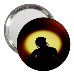 Silhouette Woman Meditation 3  Handbag Mirrors