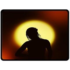 Silhouette Woman Meditation Double Sided Fleece Blanket (large)