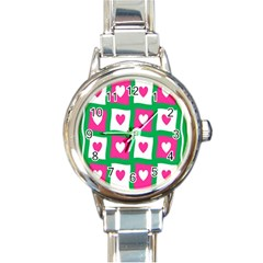 Pink Hearts Valentine Love Checks Round Italian Charm Watch