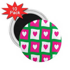 Pink Hearts Valentine Love Checks 2 25  Magnets (10 Pack)