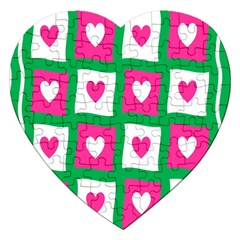 Pink Hearts Valentine Love Checks Jigsaw Puzzle (heart) by Nexatart
