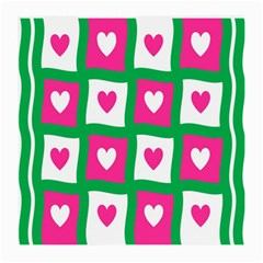 Pink Hearts Valentine Love Checks Medium Glasses Cloth by Nexatart