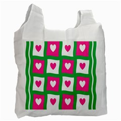 Pink Hearts Valentine Love Checks Recycle Bag (one Side)